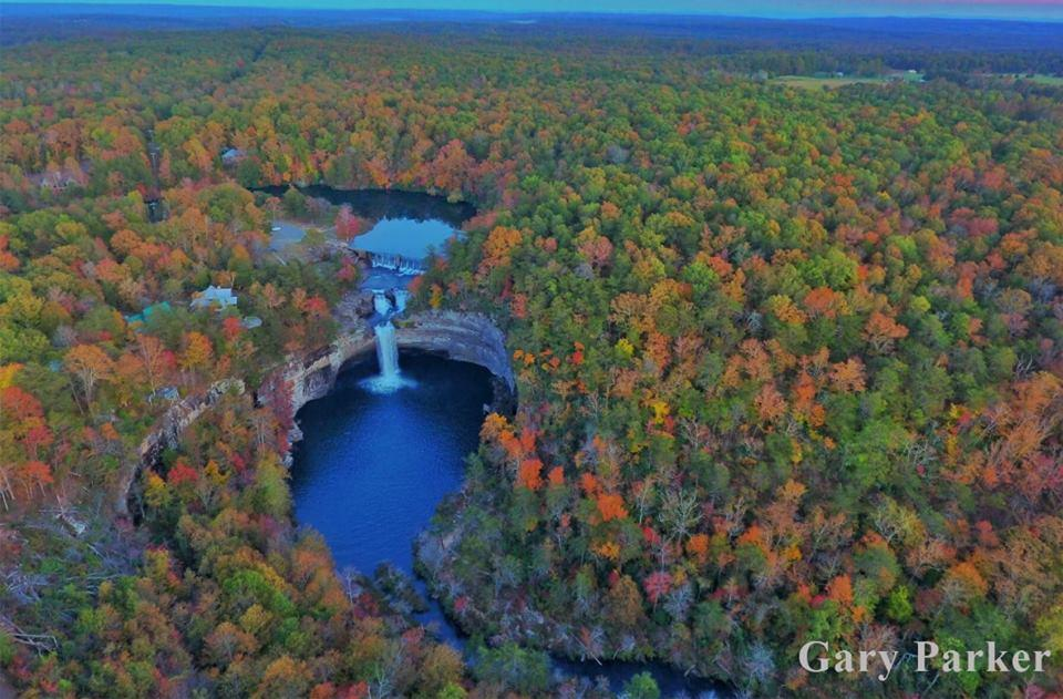 DeSoto Falls In fall Drone View by David Parker