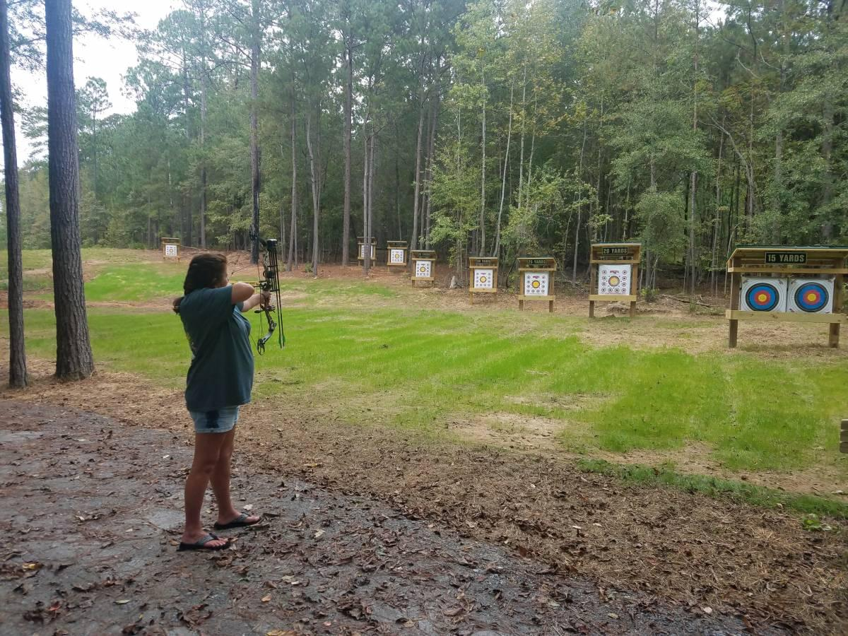 Shooting a Bow at Wind Creek's Archery Range