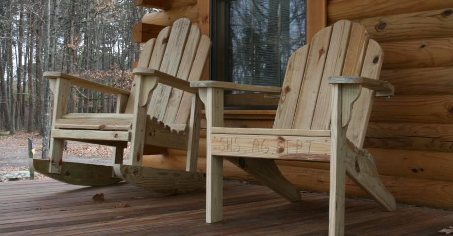 Camping Cabin Front Porch with Chairs