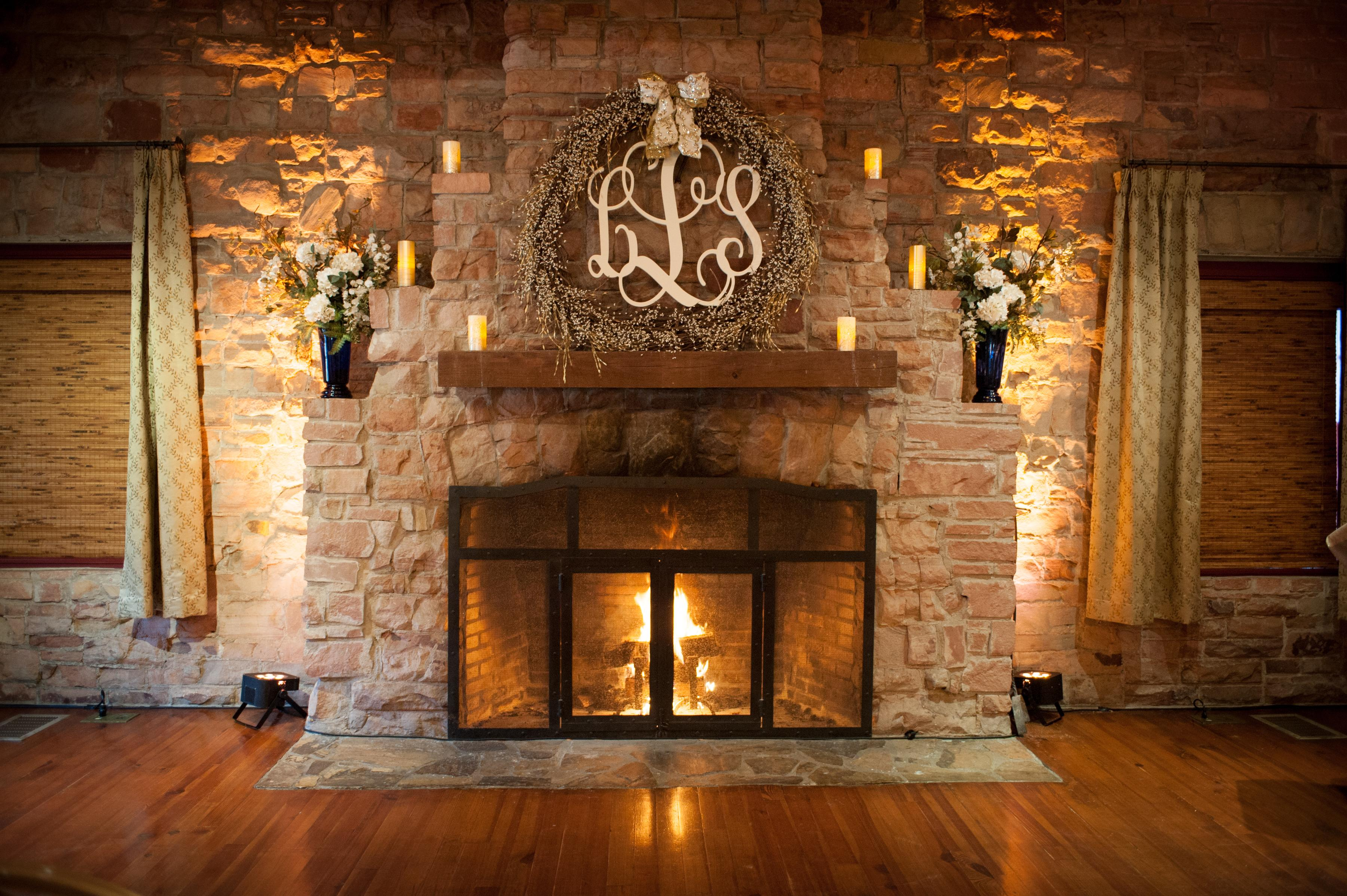 Lodge Fireplace Decorated