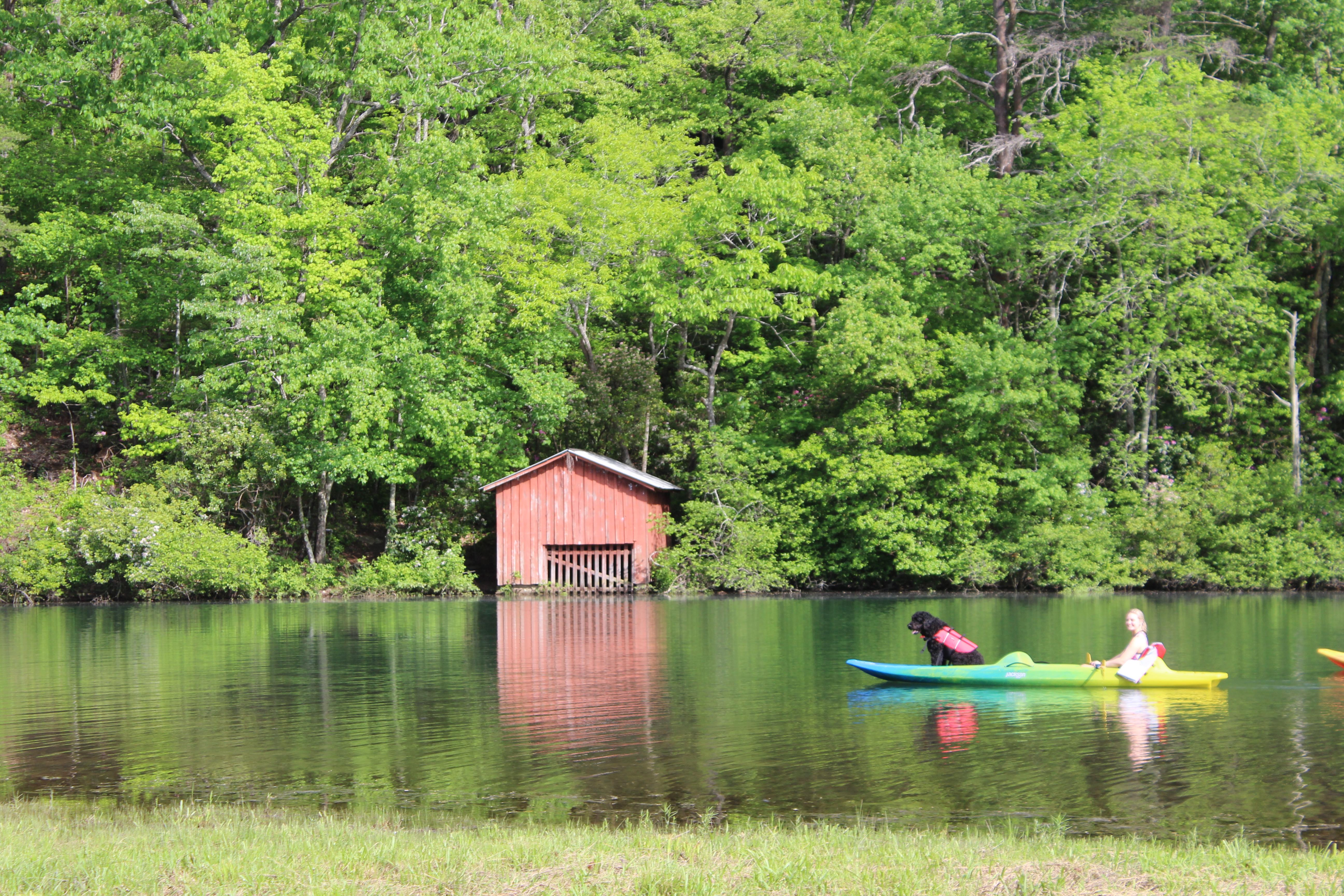 Kayak Little River Red Boat house and Dog