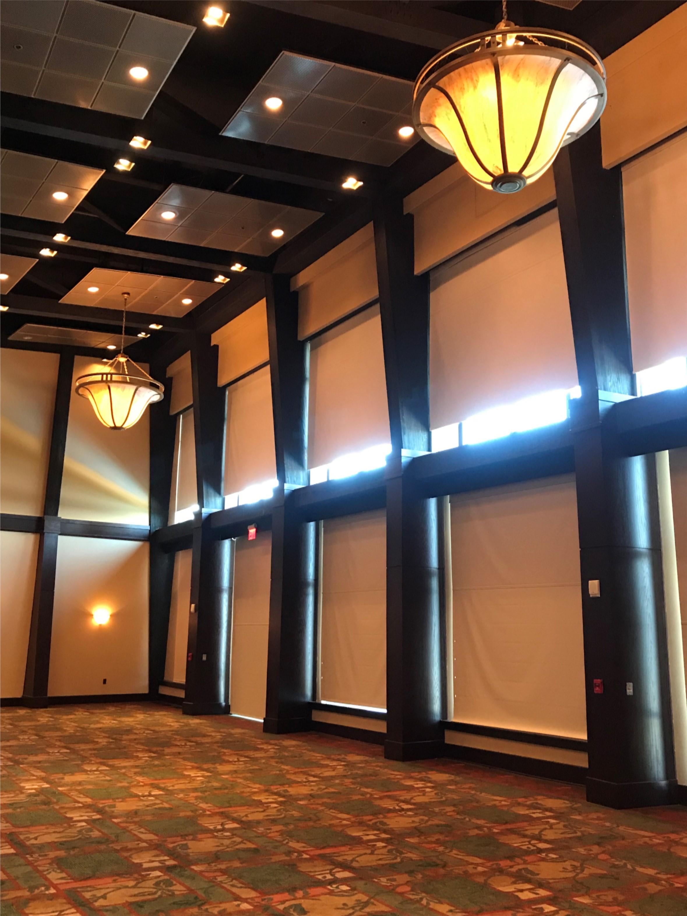 Inside ballroom blinds and columns
