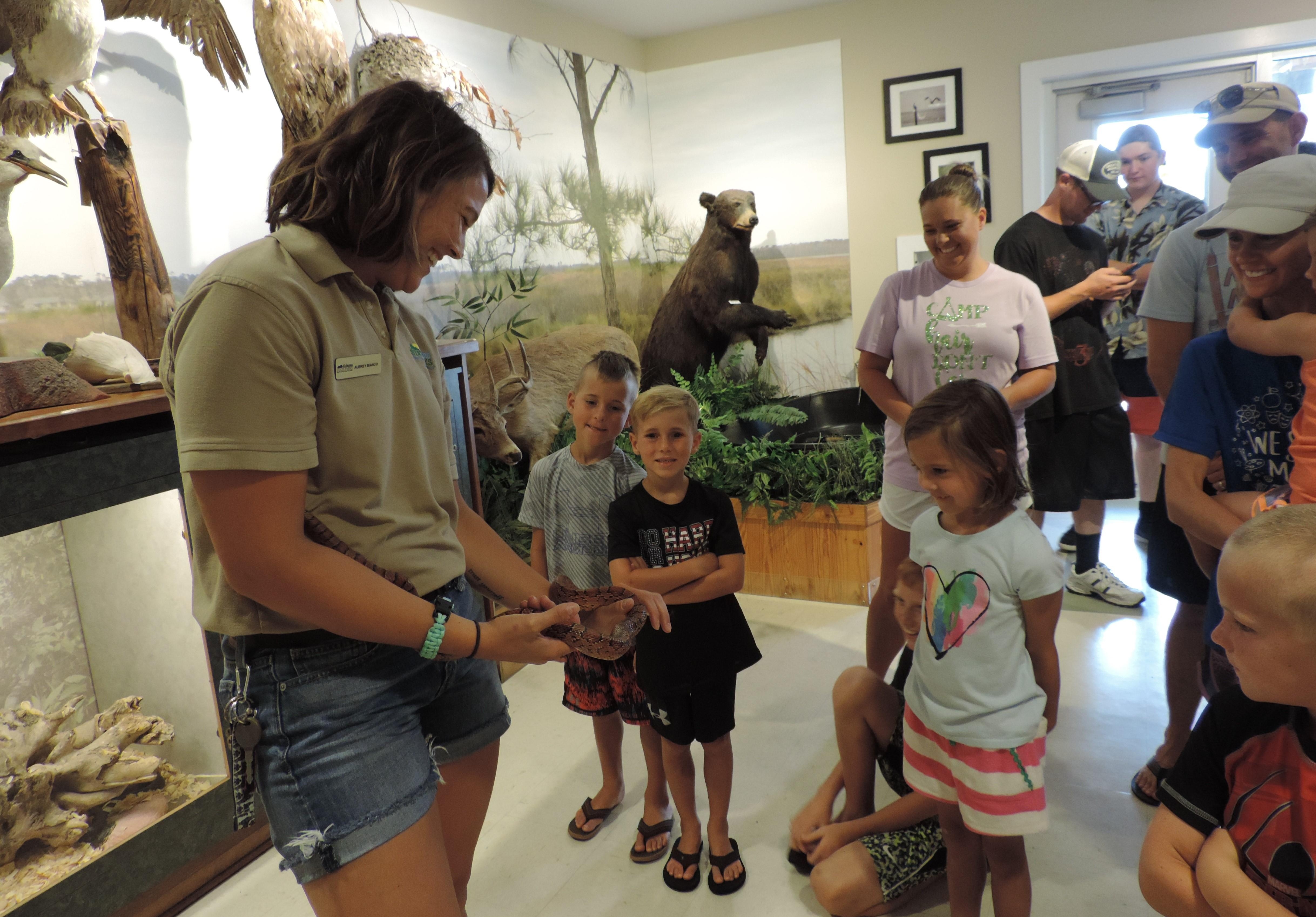 Naturalist Leads a Snake Lecture With Visitors