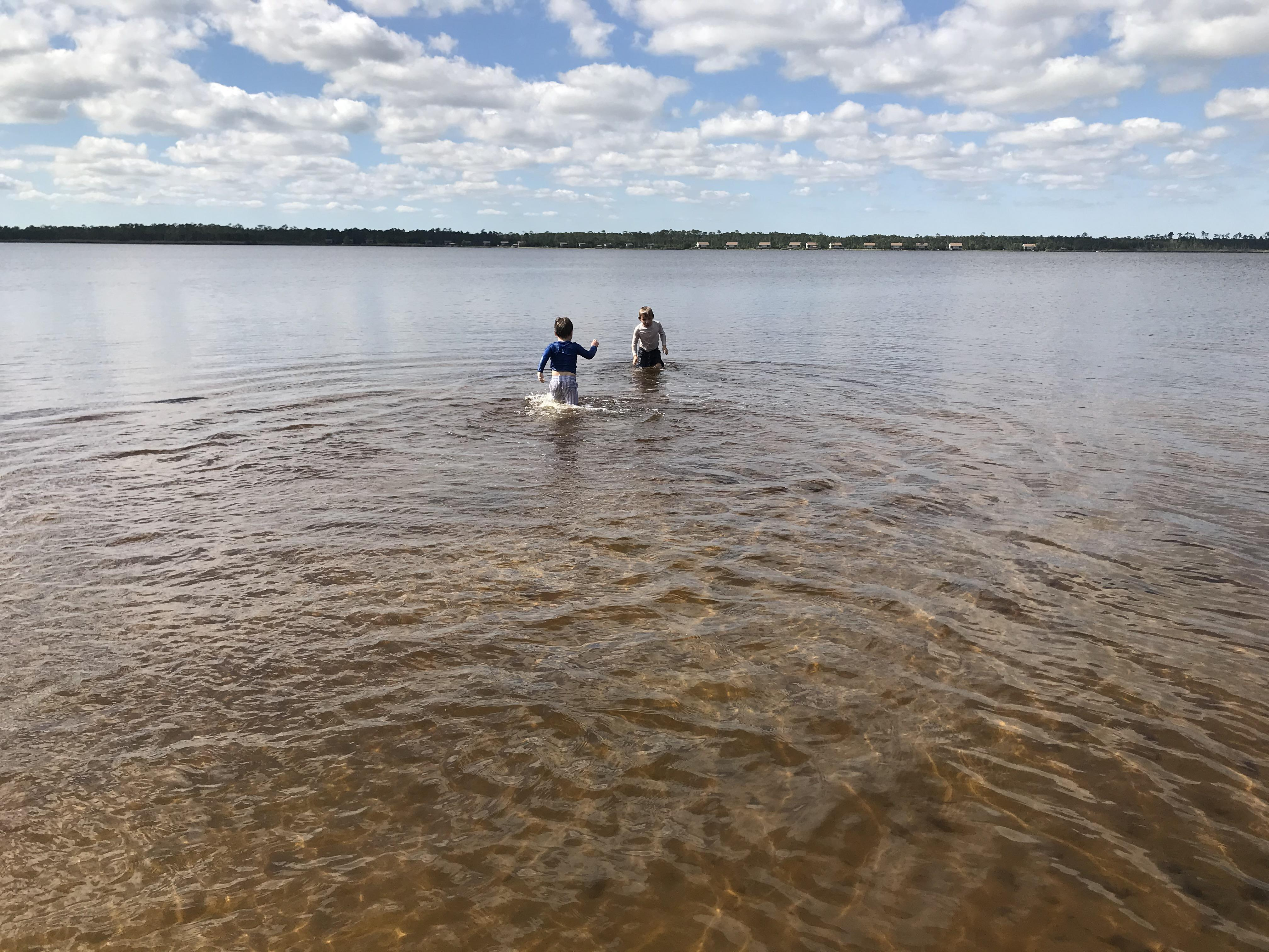 Children Play in the Water at Lake Shelby