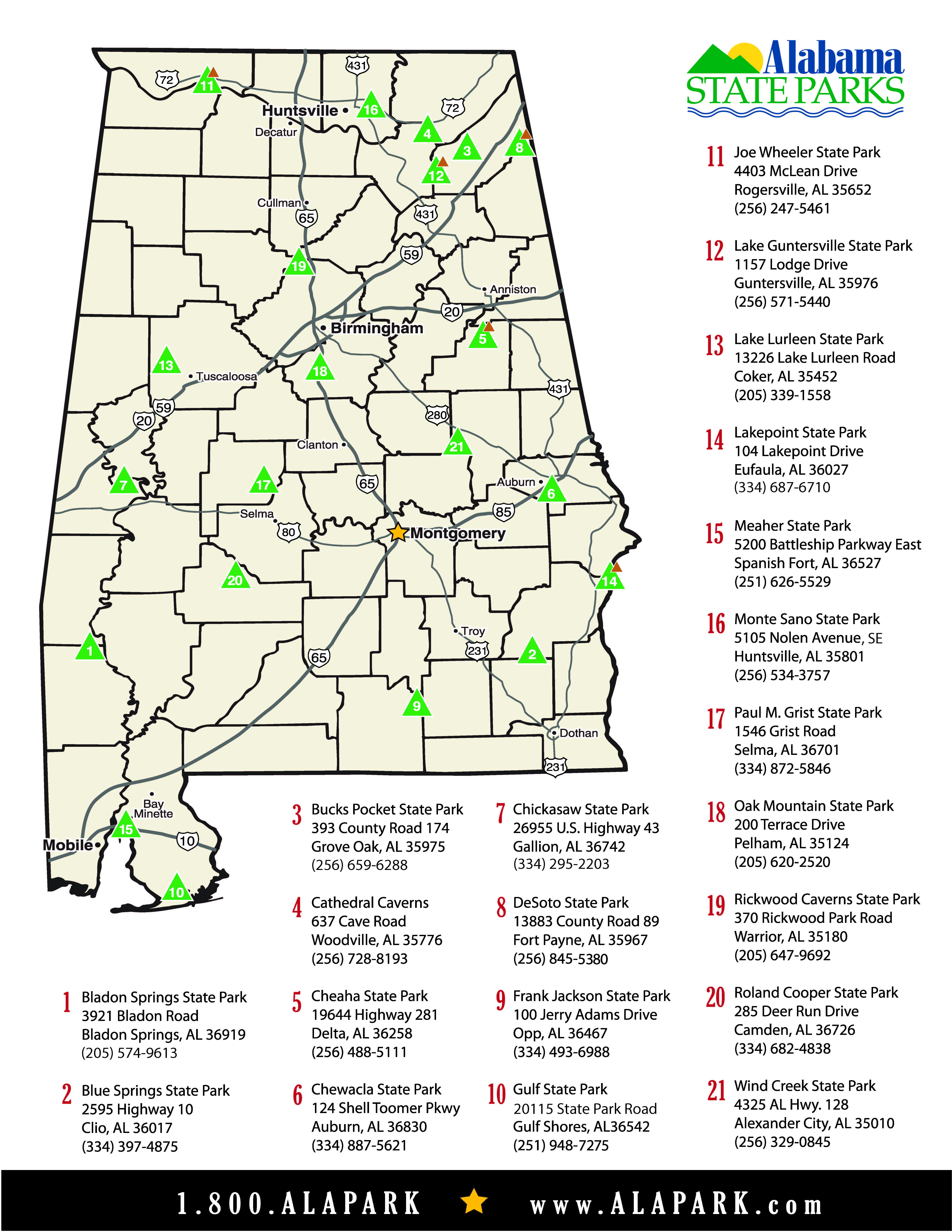Alabama State Parks Location Map